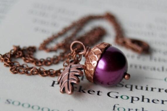 Plum and Copper Acorn Necklace