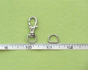 10 sets--5/16 inch D-head inside wide (0.8 cm)--Nickel Lobster Swivel Clasps Clips and Nickel D ring--SMALL SIZE