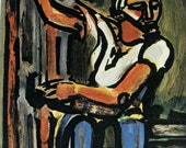 vintage lithograph print - Judas by Georges Rouault - Fauvism Expressionism - 8 x 10