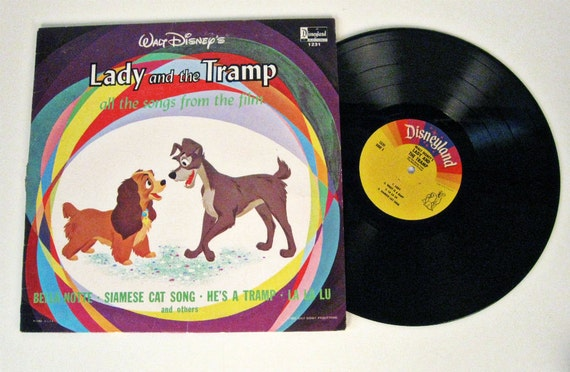 vintage Walt Disney's Lady and the Tramp record 1964