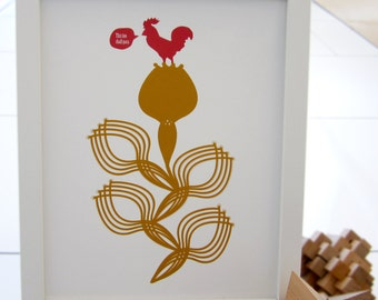 Chicken print, Illustration, This too shall pass, Red chicken, Mustard flower, 8x10 Print