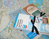 vintage maps - in bundles of six - many different road trip destinations - retro supplies - shabby chic cottage decor - industrial supplies