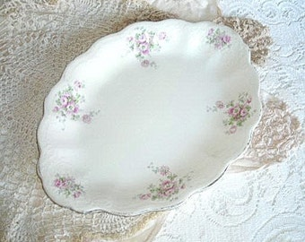 italian china platter made by Royal Firenze China - lilac and lavender floral design - shabby chic cottage decor