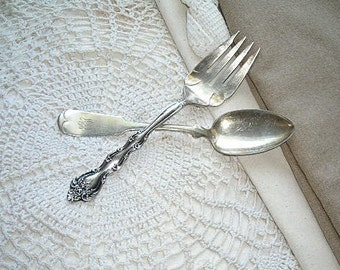 silver serving spoon and fork - monogrammed silverware - shabby chic cottage decor - hollywood regency