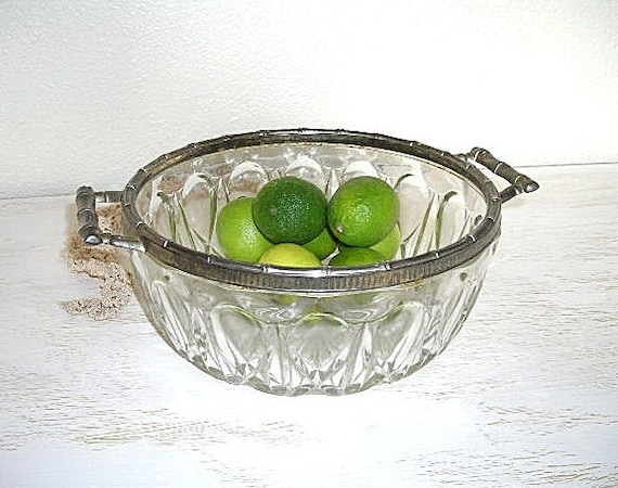 french crystal and silver Reims bowl with handles - shabby chic beach cottage decor - vintage hollywood regency
