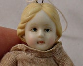 Vintage Bisque Doll Christmas Ornament Muslin Dress Hand Painted Features Leave As Is or Restore