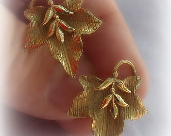 Vintage Carl Art Maple Leaf Earrings 12K Gold Filled Retro
