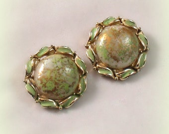 Vintage Enamel Earrings Celedon Green Antique Gold Splatter