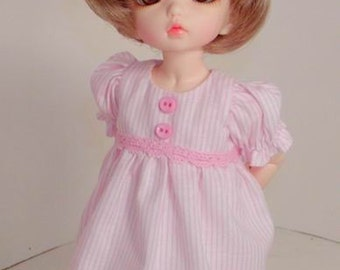 Pink Ruffled Dress - Little Fee - LTFee, YoSD, Tella, BID, KWiggs & other Tiny BJD