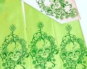 Hot lime green skull necktie, green skull print mens necktie
