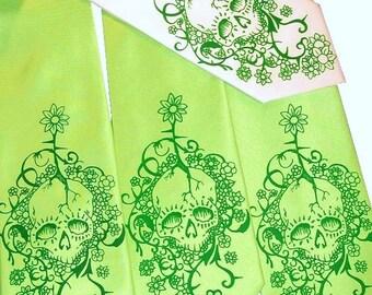 RokGear Floral Skull necktie print - Mens Microfiber tie Custom colors print to order