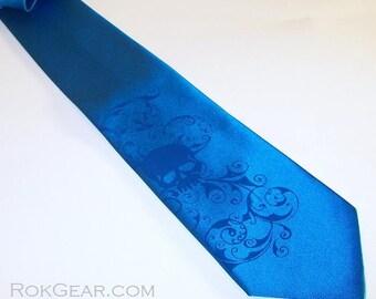 RokGear Necktie Mens distressed skull tie blue on blue