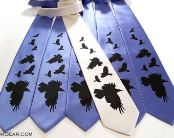 2 Mens neckties crows design print to order on over 50 different necktie colors