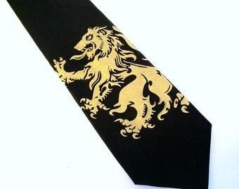 Mens microfiber necktie, lion rampant design. available in custom colors