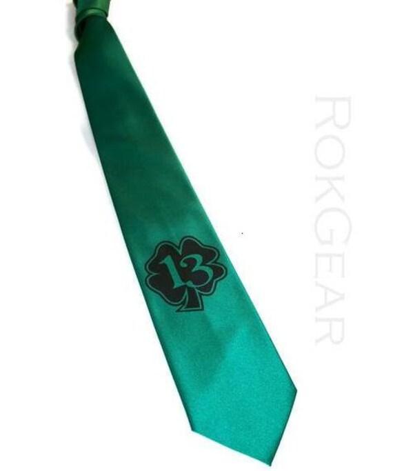 4 ties - Lucky 13 Mens necktie, shamrock Irish tie