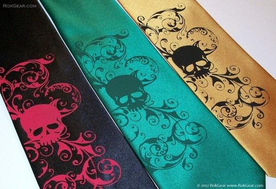 Custom color skull tie by RokGear mens microfiber standard size necktie colors of your choice