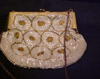Vintage Beaded Bridal Clutch or Coin Purse - Made in France