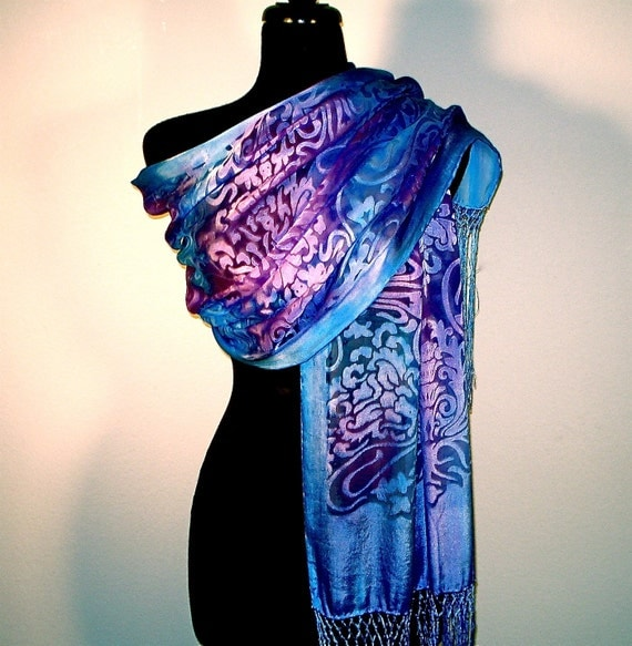 Luxuriously Large Silk Devore Shawl Hand Painted in Cobalt and Plum - ready to ship