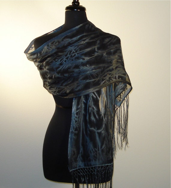 Raven's Wing Blue-Black Hand Painted Shawl- Made to Order