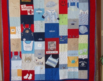 CUSTOM ORDERS for TWIN size Quilt  made from your baby clothes (plain fabric borders)