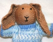 Bunny Toy, Hand Knit Rabbit, Perfect for Your Little Boy, Bobby Bunny, Ready to Ship