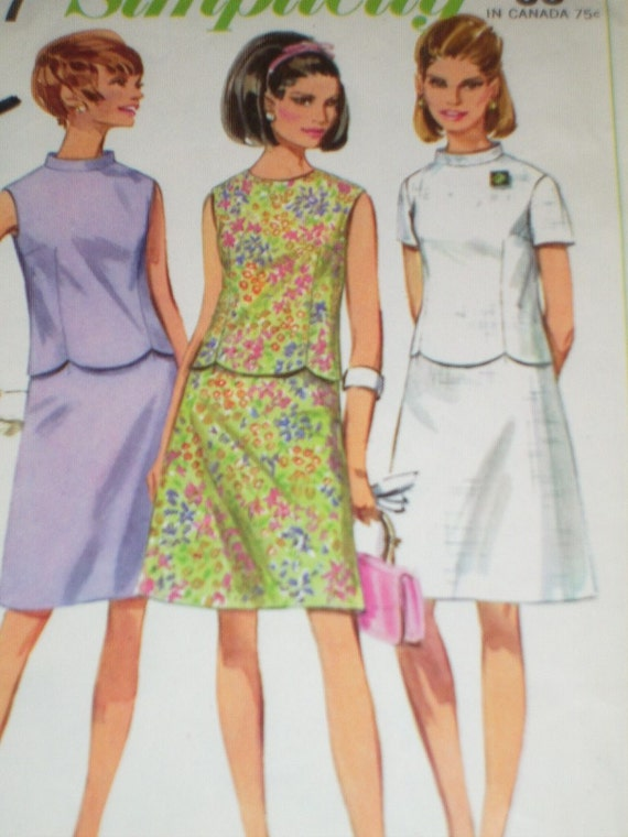 Vintage 1960's Simplicity 7127 Sewing Pattern, Two Piece Dress, Size 12