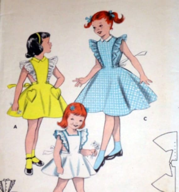 Vintage 1950's Butterick 7230 Quick & Easy Sewing Pattern, Children's Pinafore Or Dress, Size 8