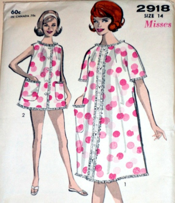 Vintage 1960's Sewing Pattern Advance 2918 Sew-Easy Misses' Robe And Shortie Pajamas Size 14 Factory Folded