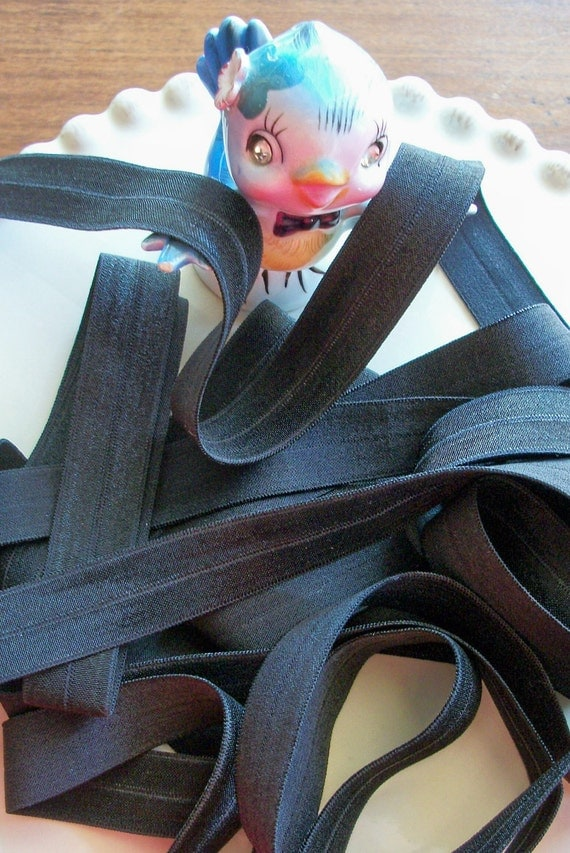 Fold over Elastic 5/8 inches BLACK 5 yards