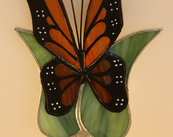 Stained Glass Night Light Monarch Butterfly Hand-Painted  - Made to Order (MON035)