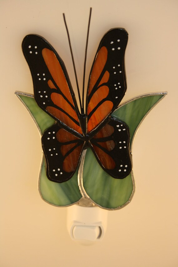 stained glass night light monarch butterfly hand painted made to. Black Bedroom Furniture Sets. Home Design Ideas