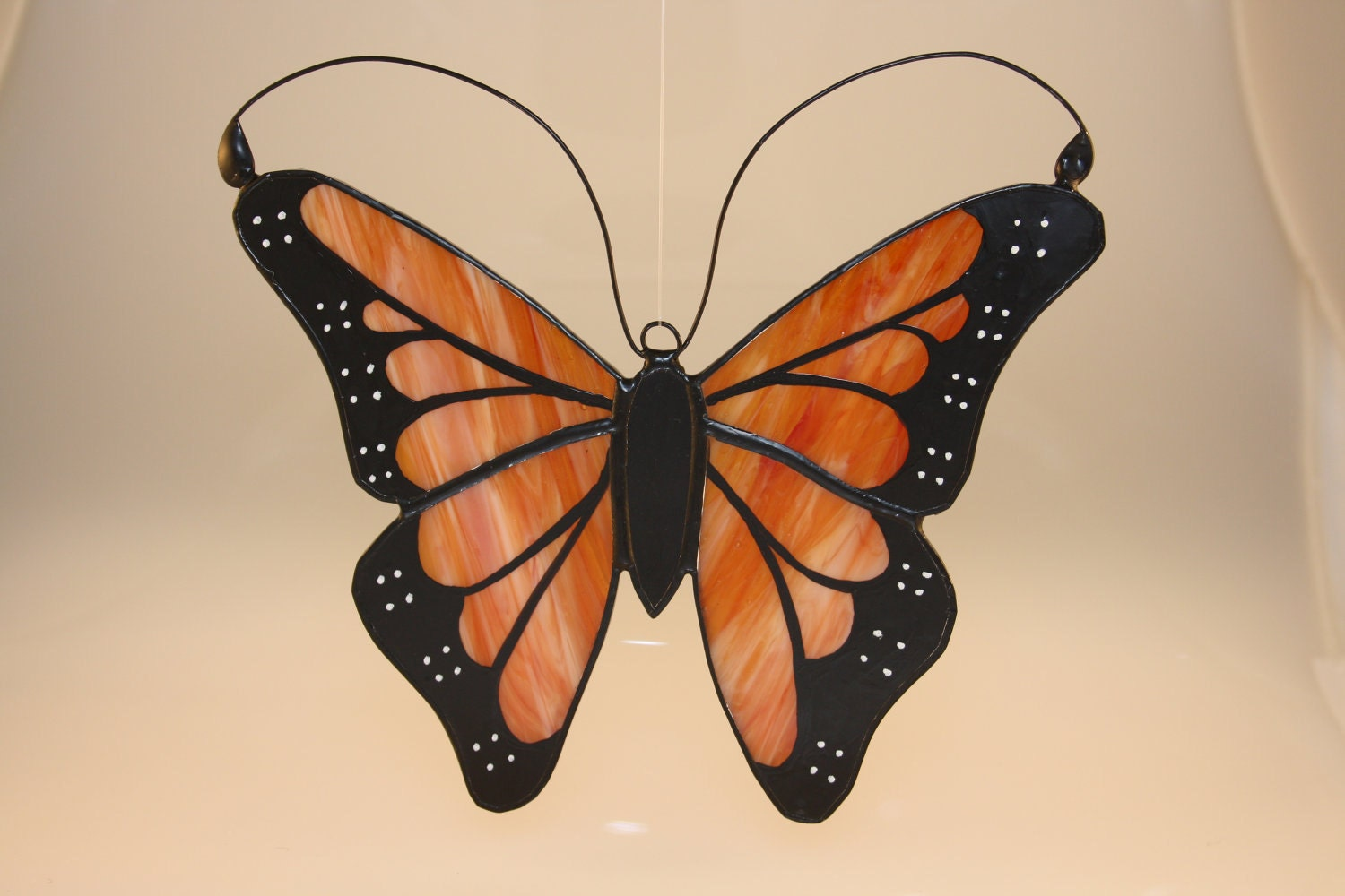 Monarch butterfly hand painted stained glass suncatcher made for Butterfly stained glass craft