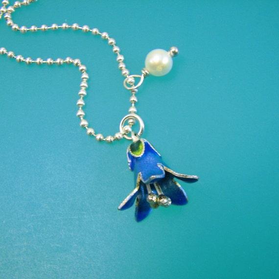 bluebell blue bell charm enamel sterling silver focal pendant