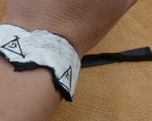 Fur bracelet - real zebra hide bracelet with leather straps and hand-stitched accents