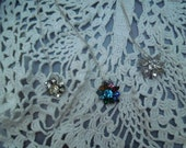 Small Vintage rhinestone pins on sterling silver delicate chains- Your Choice of pendant