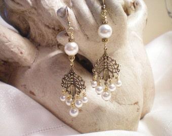 F E A T H E R  -   Antique Brass Filigree and Swarovski Pearl Earrings