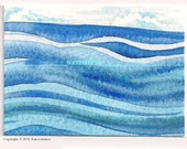 ACEO - blue waves illustration - Original waterolor - On The Water