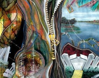 """Struggle - an original mixed media painting, 45"""" x 67"""""""