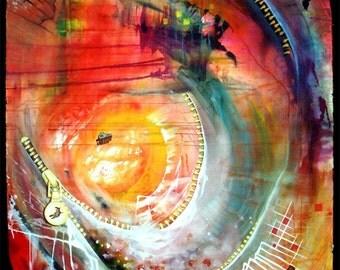 Rainbow Tornado - an original mixed media painting