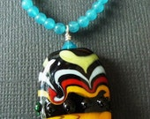 RESERVED - Malaysia Jade and Lampwork Bead Necklace - SALE