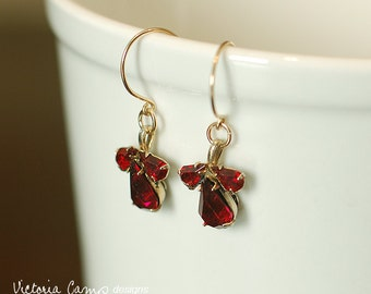 Vintage Red Rhinestone Earrings on Gold Hooks, Ruby Red, Art Nouveau Style, Drop Earring, Dangle Earring, Christmas Earrings, Ready to Ship