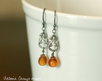 LAST PAIR - Sterling Silver and Orange Hessonite Gemstone Drop Earrings, Vintage Silver Art Nouveau Style, Fall Wedding, Autumn