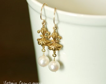 LAST PAIR Art Nouveau Style, Fleur de Lis and White Pearl Earrings, Gold Hooks, Spring Bridal, Wedding Jewelry,  Made to Order