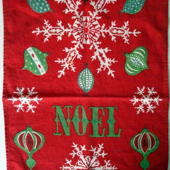 Vintage Tammis Keefe linen tea towel with ornaments and snowflakes