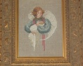 Counted Cross Stitch Framed Guardian Angel Holding a Child Baby Christmas Holiday