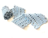 romantic crochet lace scarf for women and teens, cotton and merino wool - pale sky blue, soft, all natural fibers, ready to ship - BaruchsLullaby