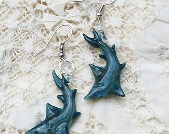 Hand Sculpted Glass Shark Earrings