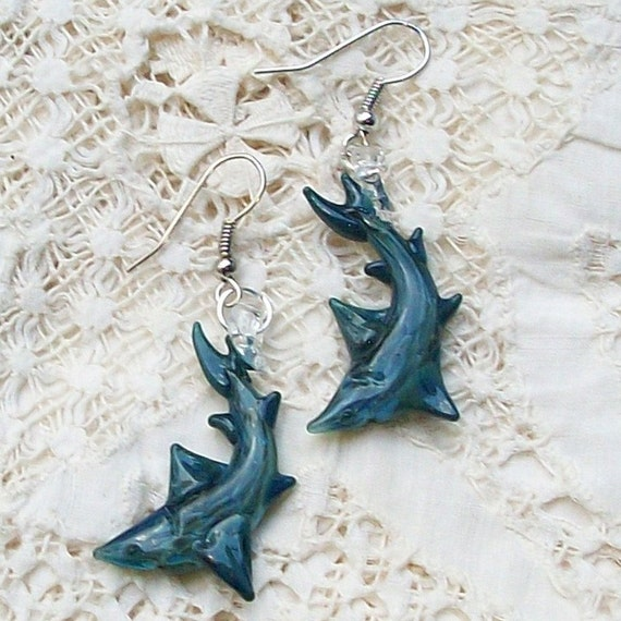 Hand Sculpted Glass Shark Earrings