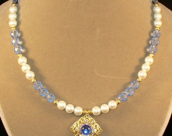 Madeleine--Light blue and gold Renaissance necklace set