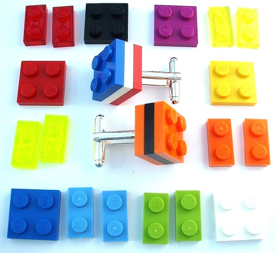 Pick Your Fav Colour 3 Tier Cufflinks - silver plated - Handmade with LEGO(r) plates